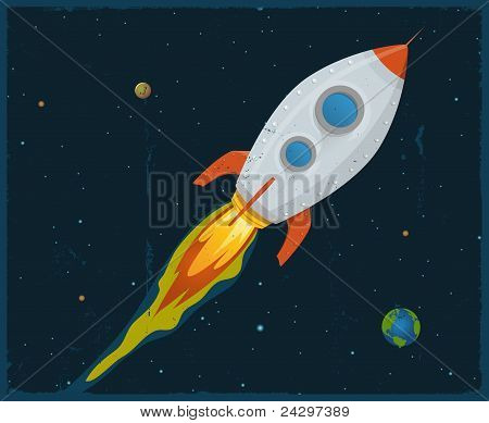 Rocket Ship Blasting Through Space
