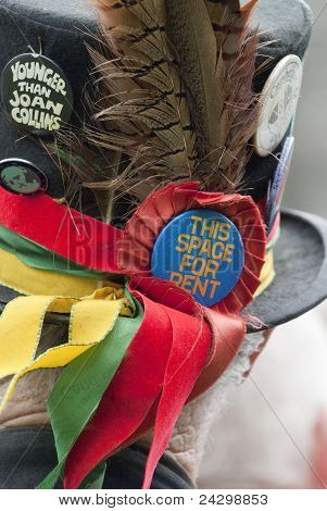 The hat of a  Dartington Morris man at Tagore Festival, To Celebrate Th