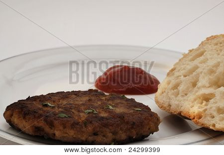 meatball with bread and ketchup