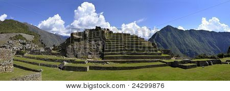 Panorama Of Terraces At Macchu Picchu