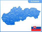 The Detailed Map Of Slovakia With Regions Or States And Cities, Capitals. Administrative Division poster
