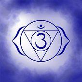 Sixth, Third Eye Chakra - Ajna. Illustration Of One Of The Seven Chakras. The Symbol Of Hinduism, Bu poster