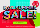 Hot Summer Sale Vector Banner. Bright Colorful Special Offer Concept. Trendy Geometric Background. 3 poster