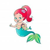 Постер, плакат: Cute Little Smiling Mermaid A Funny Girl Is Holding A Mermaid Toy In Her Hand Vector Illustration