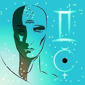 Постер, плакат: Sign Of Zodiac Gemini Girl Is Fortuneteller With Third Eye Constellation Sign Of Zodiac And Plane