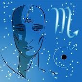 Постер, плакат: Sign Of Zodiac Scorpio Girl Is Fortuneteller With Third Eye Constellation Sign Of Zodiac And Plan