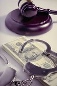 Dollar Cash, Handcuffs And Judges Gavel As Symbol Of Corruption In The Judicial System, Justice, La poster