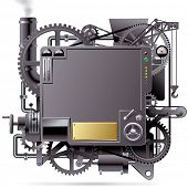 Raster version of vector isolated image of the complex fantastic machine with gears, levers, pipes,