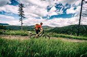 Mountain Biking Man Riding On Bike In Summer Inspirational Landscape. Bikepacking, Cycling On Enduro poster