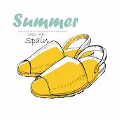 Vector Illustartion Of Drawing Sandal From Spain With Lettering Text. Summer Woman Shoe For Log Desi poster