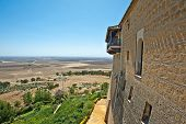 stock photo of parador  - Balcony of a Parador under a blue sky - JPG