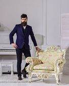Fashion And Style Concept. Man With Beard And Mustache Wearing Classic Suit, Stylish Fashionable Out poster