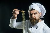 Adding Seasoning. Portrait Of Bearded Male Chef Sprinkling Spices. Hand Sprinkling Spices. Cooking.  poster