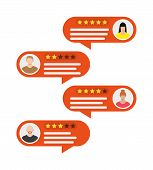 Rating App. Bubble Speeches And Avatars. Reviews Five Stars Rating With Good And Bad Rate And Text.  poster