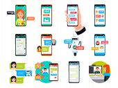 Online Video, Messenger Chatting On Smartphone, Laptop And Computer Vector Illustration Set. Flat Co poster