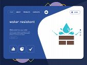 Quality One Page Water Resistant Website Template Vector Eps, Modern Web Design With Flat Ui Element poster