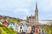 Cathedral  And Colored Houses In Cobh, Ireland poster