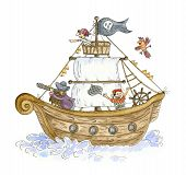 Pirate Ship. Funny Pirates, Hand Drawn Watercolor Illustration poster