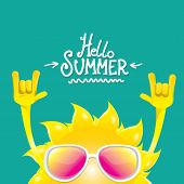 Hello Summer Funky Rock N Roll Vector Label Isolated On Azure. Summer Party Background With Funky Su poster