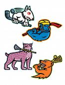 Mascot Icon Illustration Set Of  Lacrosse And Ice Hockey Sporting Sports Team Mascots Like An Bull T poster