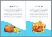 Treasure Hidden In Bags, Royal Crown And Luxurious Goblet Vector Illustrations. Old Sacks Stuffed Wi poster