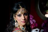 image of indian sari  - Image of a gorgeous Indian bride traditionally dressed - JPG