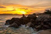 The Rock Hin Ta And Hin Yai From Thailand Island Of Koh Samui. The Picturesque Pile Of Rocks On The  poster