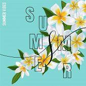 Summertime Floral Poster. Tropical Plumeria Flowers Design For Banner, Flyer, Brochure, Fabric Print poster