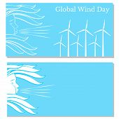 Global Wind Day. Concept Of Ecological Holiday. 15 June. Wind Symbol - Face In Profile, Blowing, Hai poster