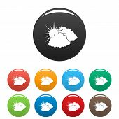 Dark Cloudy Sun Icon. Simple Illustration Of Dark Cloudy Sun Vector Icons Set Color Isolated On Whit poster