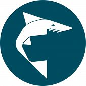 picture of pushy  - Simplified geometric shark 2d icon in circle - JPG