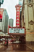 Chicago Theatre In Chicago, Illinois. Famous Landmark Of The City. poster