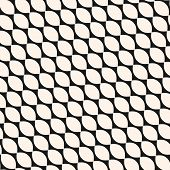 Vector Geometric Seamless Pattern With Diagonal Grid, Mesh, Rounded Lattice, Curved Shapes. Abstract poster