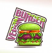 Vector Logo For Vegan Burger, On Poster Green Bun With Sesame Seeds, Veg Beet Patty And Leaves Of Sp poster