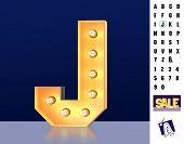 Letter J From Alphabet. Glowing Letter J. Bulb Type J. 3d Illuminated Light Bulb Symbol Letter J. Re poster