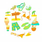 Sea Rest Icons Set. Cartoon Illustration Of 16 Sea Rest Vector Icons For Web poster