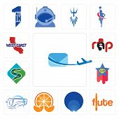 Set Of 13 Simple Editable Icons Such As Air Mail, Flute, Golden Ratio, Mandarin, Bus Company, Supers poster