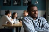 Frustrated Excluded Outstand African American Man Suffers From Bullying Or Racial Discrimination Hav poster
