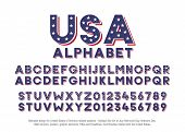 American Alphabet With Usa Flag Colors And Star Shapes. Vector Font For United States Of America Rel poster