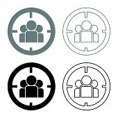 People In Target Or Target Audience Icon Set Grey Black Color Outline poster