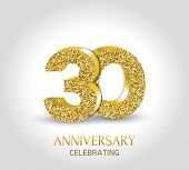 30 - Year Anniversary Banner. 30th Anniversary 3d Logo With Gold Elements. poster