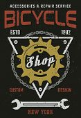 Bicycle Shop And Repair Service Vintage Vector Colored Poster With Rear Sprocket, Bike Chain And Wre poster