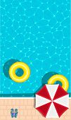 Summer Pool Party Banner With Space For Text. Yellow Pool Float, Sun Umbrella And Flip Flops. Ring F poster