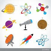 Set Of Science Stuff Icon Universe Solar System Planet Rocket Cartoon Vector poster