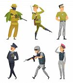 Military Characters. Army Soldiers Male And Female. Military Man In Uniform With Ammunition. Vector  poster