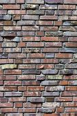 Close-up Of A Brick Wall. Decorative Masonry Using Curves, Non-standard Bricks. Brick Wall Backgroun poster