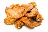 picture of chicken wings  - Grilled chicken wings isolated on white background - JPG