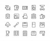 Simple Set Of Kitchen Appliances Related Vector Line Icons. Contains Such Icons As Meat Grinder, Boi poster