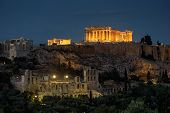 Night View Of The Parthenon In Athens, Greece. The Famous Ancient Greek Parthenon On Acropolis Hill  poster