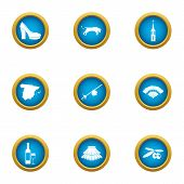 Urban Culture Icons Set. Flat Set Of 9 Urban Culture Vector Icons For Web Isolated On White Backgrou poster